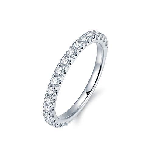 3mm Rhodium Plated Sterling Silver Simulated Diamond Cubic Zirconia CZ Half Eternity Wedding Ring (8)