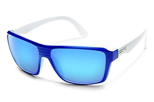 Suncloud Colfax Polarized Sunglasses, Blue/White Frame, Blue Mirror - Sunglasses Novella Smith