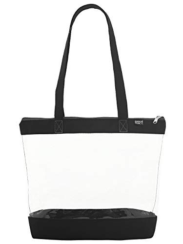 Clear Shoulder Zipper Tote, Black ()