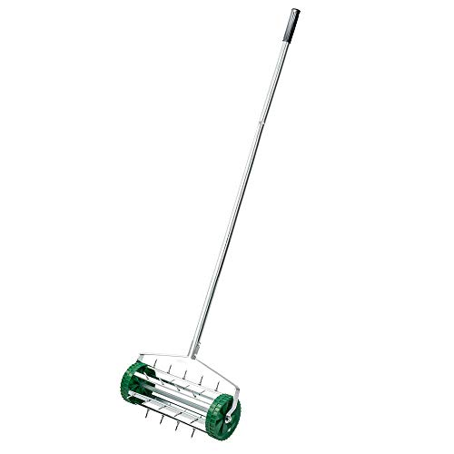 MOPHOTO Rolling Lawn Aerator, 18 Inch Lawn Aerator Gardening Tool, Rotary Push Tine Spike Soil Aeration, Tine Spikes, 50in Handle ()