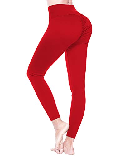 FOUMECH High Waist Yoga Pants for Women-Scrunch Ruched Butt Leggings-Tummy Control Butt Lifting Stretchy Workout Booty Tights Red