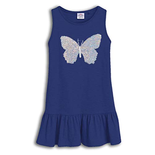 VIKITA Girls Summer Sequin Blue Dresses Sleeveless Casual Cotton Dress SH0380M 4T]()
