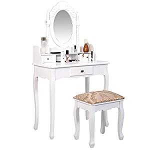 Giantex Vanity Set Dressing Table with Cushioned Stool Oval Makeup Mirror Writing Desk 3 Removable Drawers, Easy Assemly Vanities