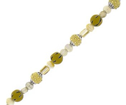 Necklace Pearly White - Decorative Bead Strand ~ Jewelry Making & Design ~ Pearly Whites, Yellows & Clear- Metallics in Glass, Metal, & Acrylic ~ 7 Inch