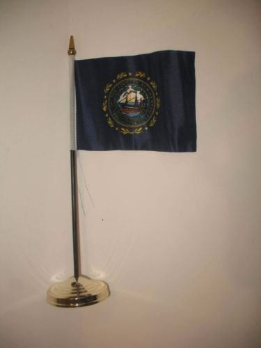 New Hampshire State Flag 4''x6'' Desk Set Table Stick Gold B