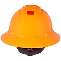 3M Full Brim Hard Hat H-807R-UV, 4-Point Ratchet Suspension, Uvicator, Hi-Vis Orange