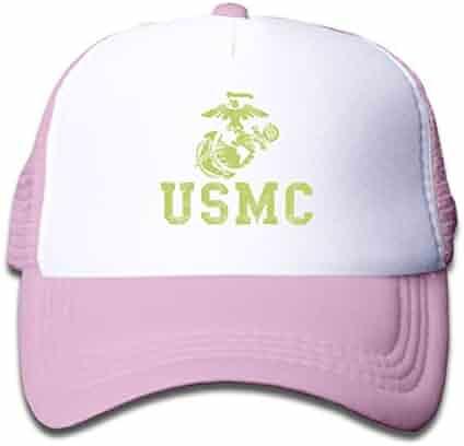 d4dd9c14584891 Kids United States Marine Corps USMC Mesh Cap Trucker Hats Adjustable Baseball  Cap Children Plain Hat