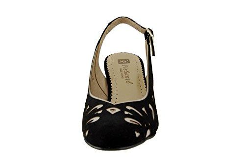 Calzado mujer confort de piel Piesanto 6277 salón fiesta zapato cómodo ancho Negro