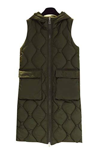 Yasong Women Long Hooded Padded Puffer Quilted Vest Gilet Bodywarmer Sleeveless Jacket Green