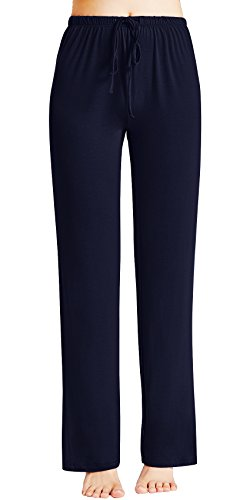 GYS Women's Bamboo Sleep Pants, Large, Navy (Sleep Pants Shop)