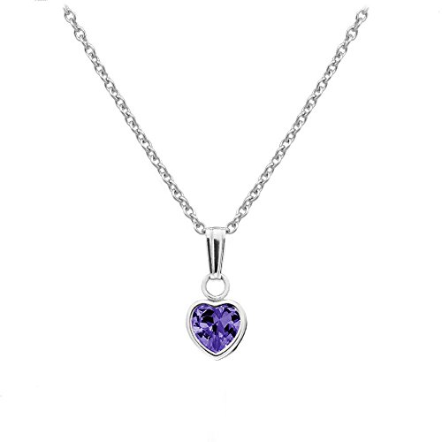 Little Girl's Sterling Silver Simulated February Birthstone Heart Pendant Necklace (13 in)