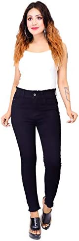 TWN Women's Slim Fit Single Button Denim Jeans  High Waist Jeans   Stretchable Single Button High Rise Skinny Fit Denim Jeans for Girls/Ladies.