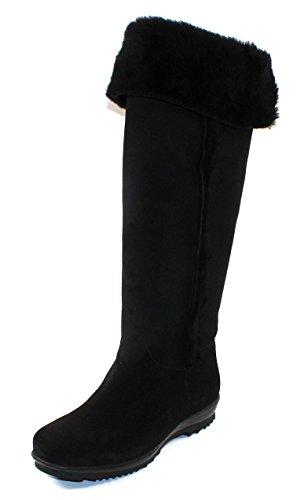 La Canadienne Womens Tiffany In Black Waterproof Suede/Genuine Shearling - Size 7 M