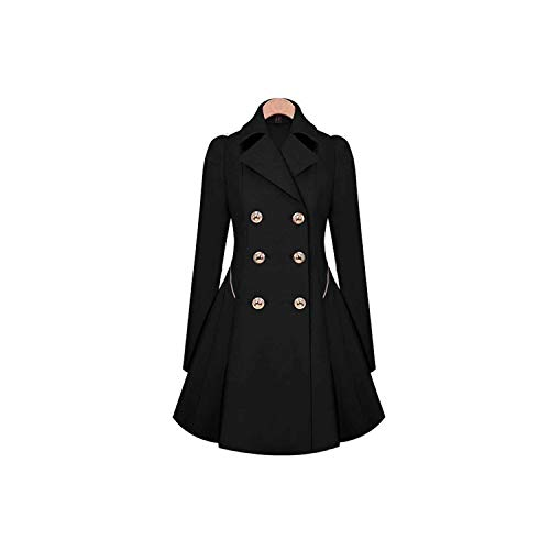 LinJiaJia_shop Women Turn Down Collar A Line Button Hip Length Pleated Long Sleeve Hem Windbreaker,Black,XXL
