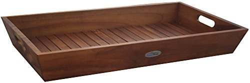 The Original Large Solid Teak Amenities Serving Tray Caddy with Handles, Indoor or Outdoor (Teak Brown Seating)