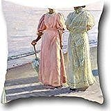 18 X 18 Inches / 45 By 45 Cm Oil Painting Michael Ancher - A Stroll On The Beach Cushion Covers ,double Sides Ornament And Gift To Sofa,husband,kitchen,kids Boys,relatives,divan