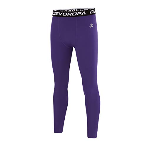 Devoropa Boys Leggings Quick Dry Youth Compression Pants Sports Tights Basketball Base Layer Purple L
