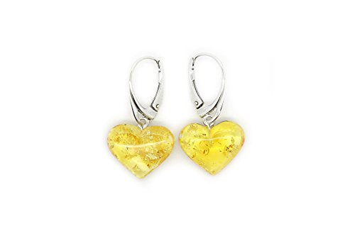 Heart Honey Amber (Genuine Natural Baltic Amber Dangle Leverback Earrings Hearts)