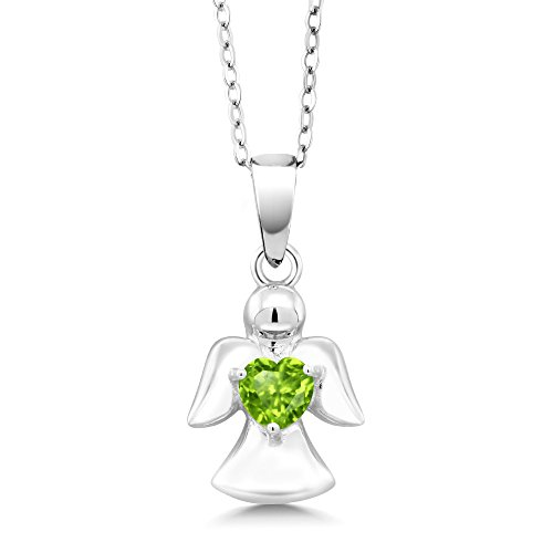 Gem Stone King 0.50 Ct Heart Shape Green Peridot 925 Sterling Silver Angel Pendant With Chain