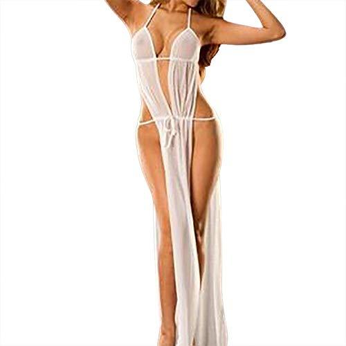 UIFIDI Women Sexy Lingerie Babydoll Sleepwear Underwear Long Dress Nightwear +Briefs White -