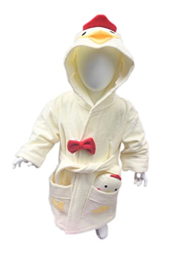 Minerva Baby&Kids Chicken Bathrobe & Plush Toy Gift Set For 2~8 Years Old 100% Virgin Cotton (S) by MINERVA HOME