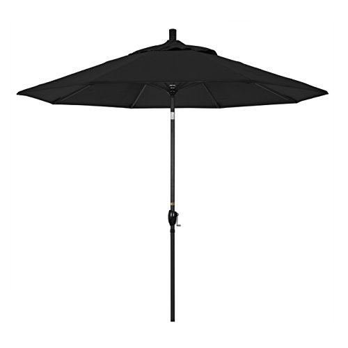 California Umbrella 9' Round Aluminum Market Umbrella, Crank Lift, Push Button Tilt, Black Pole, Sunbrella Black ()