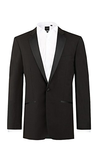 Dobell Mens Formalwear Smart Regular Fit 1 Button Black Dinner Jacket 100% Wool 44R (Wool Dinner)