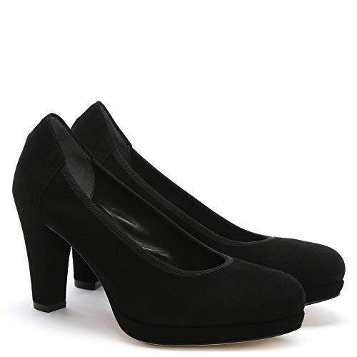 Black Suede forme Cour Plate Daim Basse En Calpierre Noir De Chaussure zvg7W7