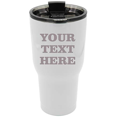 Engraved Custom RTIC Cup Tumbler - Personalized 30 oz Powder Coated Cups with Double Walled Vacuum Sealed - ANY TEXT (White) ()