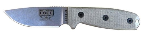 ESEE -3P Uncoated Blade & Sheath with Micarta Handles, Coyote Brown