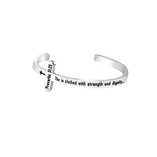bobauna She is Clothed with Strength and Dignity Proverds 31:25 Christian Bar Keychain Bible Verse Jewelry Inspirational Gift (Proverbs 31:25 Cuff Bracelet)