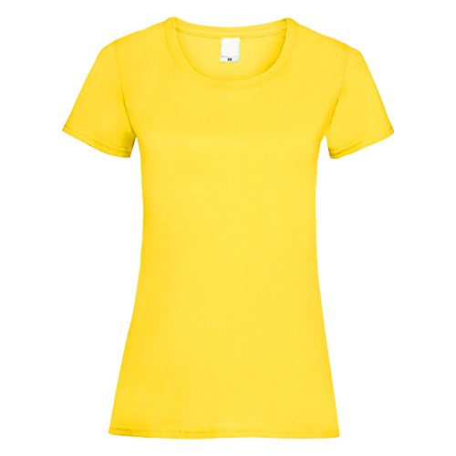 Universal Textiles Womens/Ladies Value Fitted Short Sleeve Casual T-Shirt (X Large) (Bright Yellow) - Bright Yellow T-shirt Tee