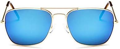 WSKPE Sonnenbrille Square Metal Sonnenbrillen Herren Luxus Marke Sonnenbrille Männlich Blaue Linse