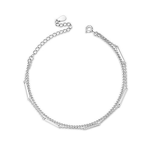 (Ankle Bracelets,Ball and Bead Anklets Sterling Silver Italy Layer Chain Bar Anklets for Women Teen Girls Beach Bracelets Anklets Jewelry (Bar Bead Layered Chain anklets))