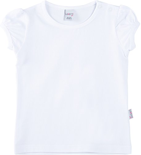 Girls Puff Sleeve Top (Lovetti Baby Girls' Basic Short Puff Sleeve Round Neck T-Shirt 6-9M White)