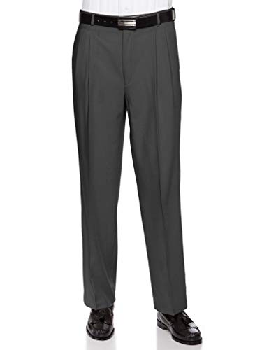 Mens Pleated Front Dress Pants - Wool Blend Long Formal Pants for Men, Made in USA Charcoal 33 - Pants Blend Dress
