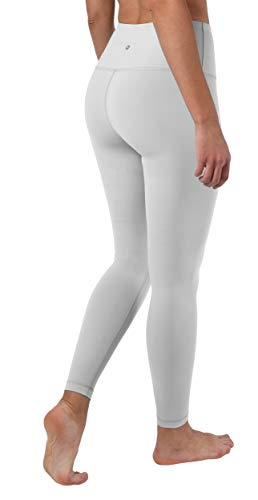 90 Degree By Reflex High Waist Squat Proof Ankle Length Interlink Leggings - Silver Lily - Large