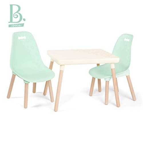 B toys - Kids Furniture Set - 1 Craft Table & 2 Kids Chairs with Natural Wooden Legs (Ivory and Mint)