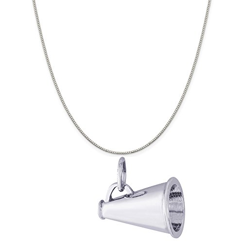 Rembrandt Charms Sterling Silver Megaphone Charm on a Sterling Silver Box Chain Necklace, 18