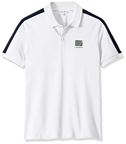 Ss Stripe Polo - Lacoste Men's S/S Mini Pique Stripe Sleeve Slim Stretch FIT Polo, White/Navy Blue, X-Large