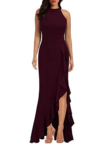 WOOSEA Women's High Neck Split Bodycon Mermaid Evening Cocktail Long Dress Burgundy