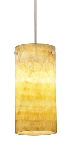 Juno Lighting P136MPS6-STN-AMO Onyx 1-Light 26W 120V Energy Star CFL MonoPoint Pendant with Natural Onyx Stone Shade, Satin Nickel Finish