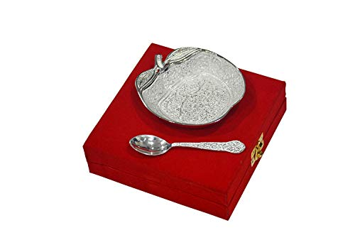- Silver Plated Brass Apple Shaped Bowl Platter Tray with Spoon 4 Inches From Indian Accent