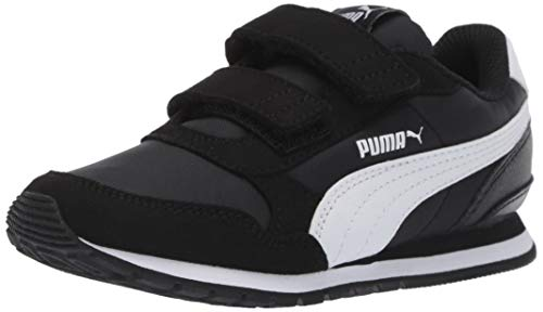 PUMA Unisex ST Runner NL Velcro Kids Sneaker,  black- white, 11 M US Little Kid