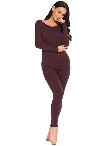 Ekouaer Womens Long Johns Thermal Underwear Set Base Layer Top and Pants,Wine Red(7893),Medium ()
