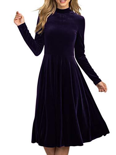 (LAICIGO Women's A-Line Loose Crewneck Long Sleeve Velvet Dress)