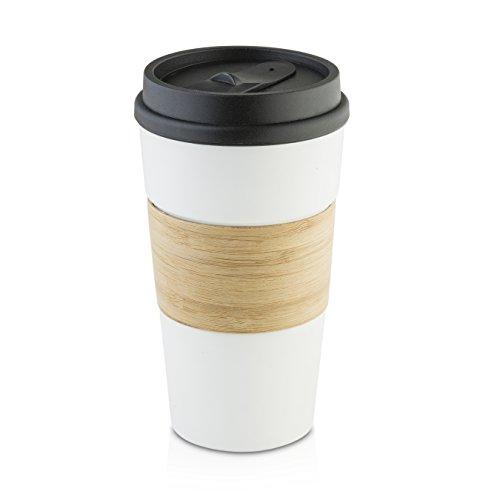 Hamilton Beach Ceramic Wood Finish Travel Coffee Mug