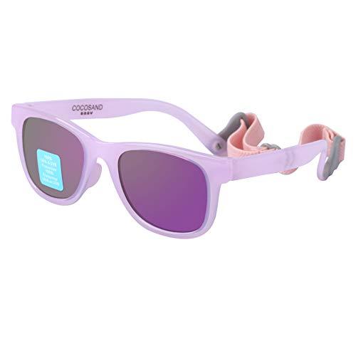 Baby Toddler Sunglasses TPE Frame Mirror UV400 Lens Adjustable Straps 0-24months