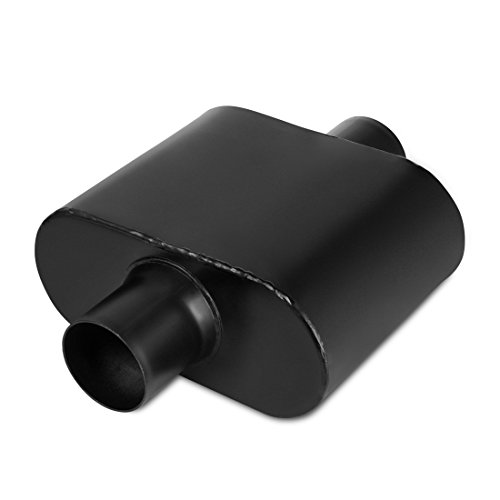 Body Aluminized Oval (2.5 Inch Inside Inlet Black Muffler, AUTOSAVER88 Universal Welded Black Exhaust Muffler Deep Sound for Cars, 12.5