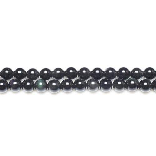 Strand 62+ Black/Dark Green Rainbow Obsidian 6mm Plain Round Beads GS11056-1 (Charming Beads)